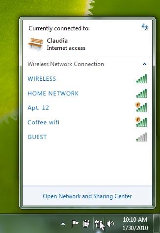 Wifi network menu
