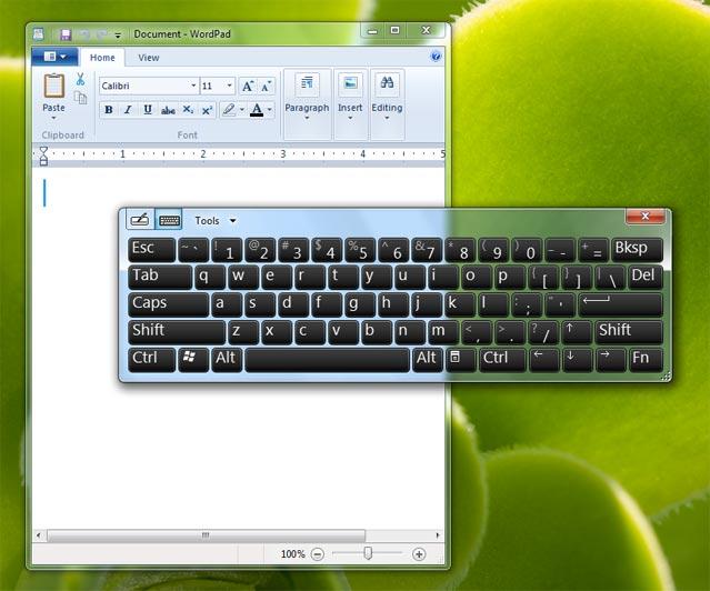 windows 7 virtual keyboard